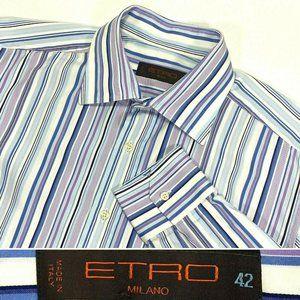 ETRO Milano Size 42 Large 16.5 Striped Dress Shirt